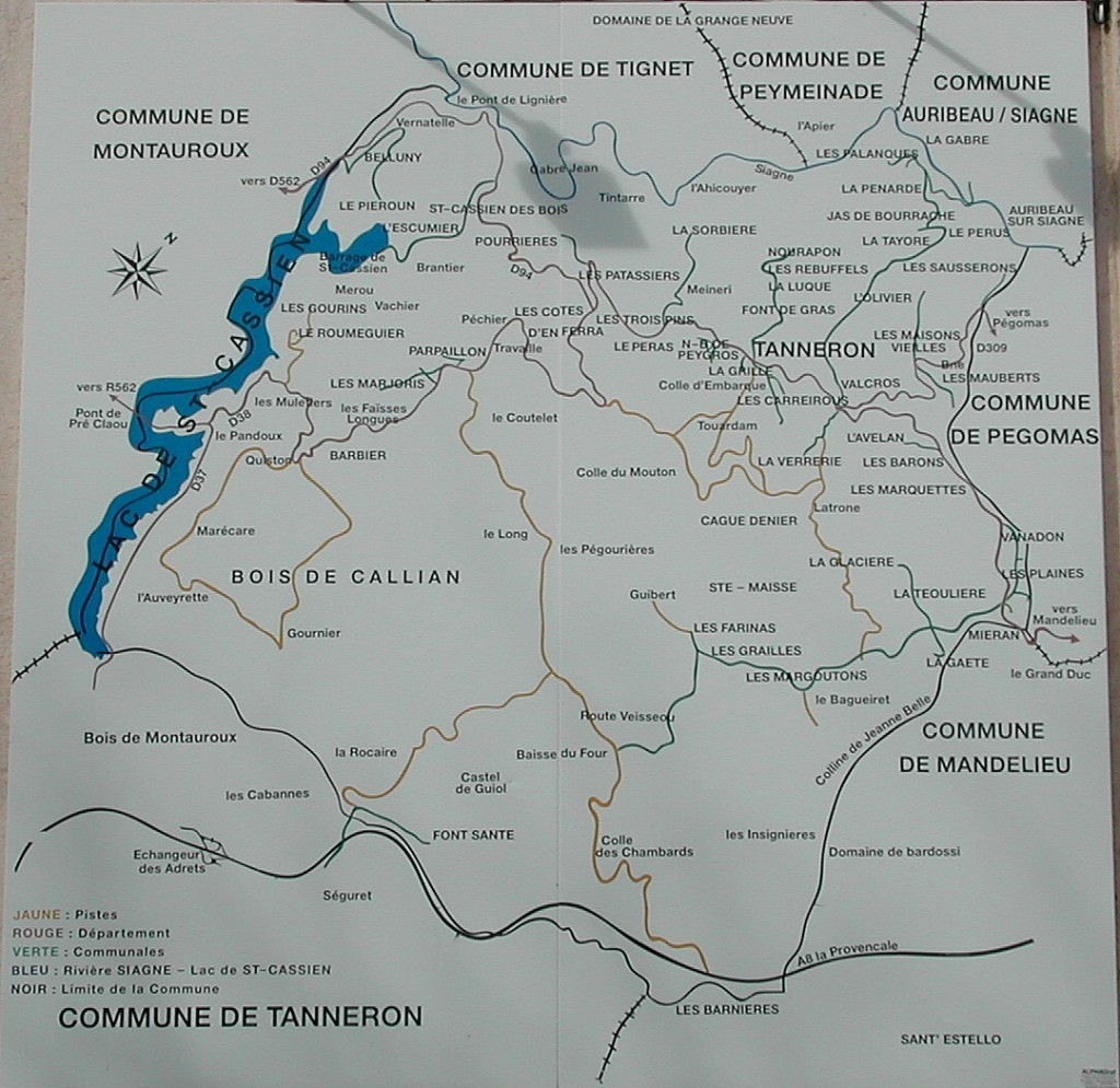Tanneron Map of Area