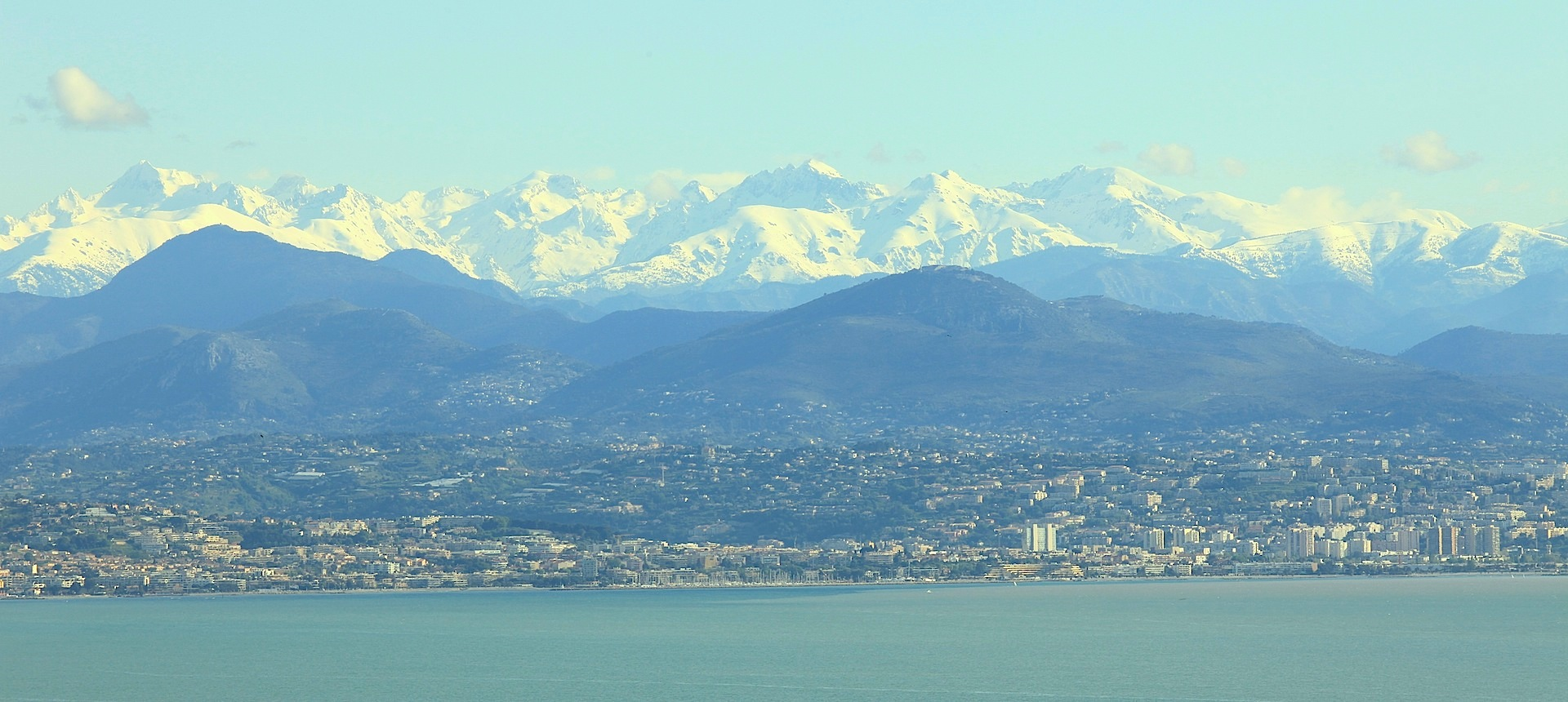 French Riviera Coastline and Snow-Capped ountains - AMB Cote d'Azur